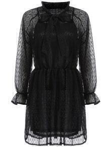 Black Sheer Lace Bow Two Pieces Dress