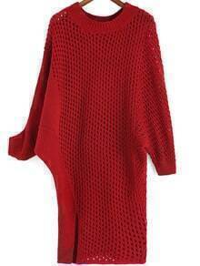Red Round Neck Hollow Split Sweater Dress