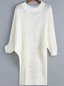 White Round Neck Hollow Split Sweater Dress