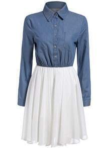 Blue White Lapel Pleated Buttons Dress
