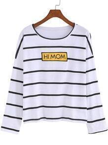 White Black Round Neck Striped Letters Print T-Shirt