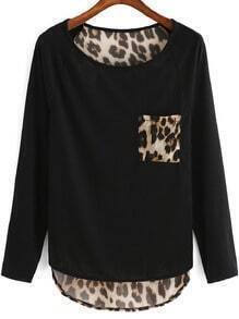 Black Round Neck Leopard Punk Comfortable Halloween Eve Sexey Dip Hem T-Shirt