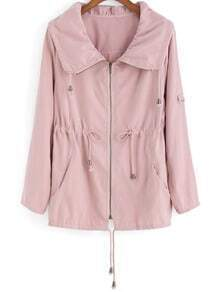 Pink Lapel Drawstring Waist Trench Coat