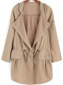 Khaki Epaulet Drawstring Waist Trench Coat