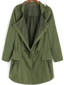 Army Green Epaulet Drawstring Waist Trench Coat