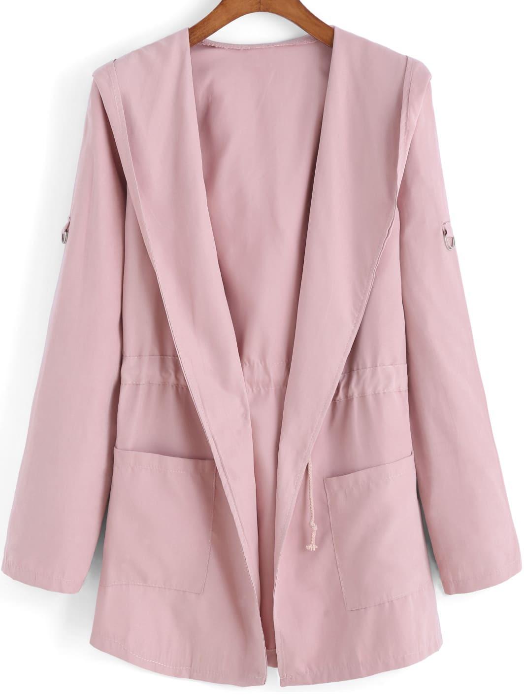Pink Hooded Long Sleeve Drawstring Pockets Coat