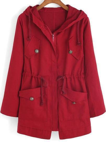 Red Hooded Drawstring LONDON Print Coat