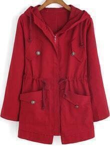 Red Hooded Drawstring LONDON Print Coat