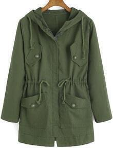 Army Green Hooded Drawstring LONDON Print Coat