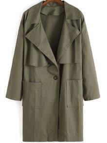 Army Green Lapel Loose Trench Coat