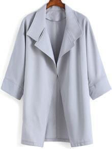 Grey Lapel Loose Casual Coat