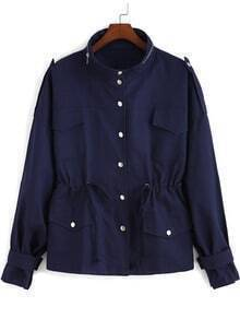 Navy Stand Collar Buttons Drawstring Coat