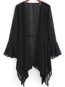 Black Bell Sleeve Loose Chiffon Coat