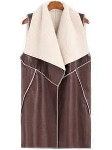 Brown Lapel Sleeveless Long PU Vest