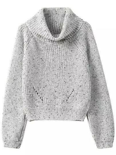 Grey High Neck Crop Knit Sweater