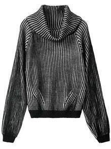 Black White High Neck Striped Pattern Sweater