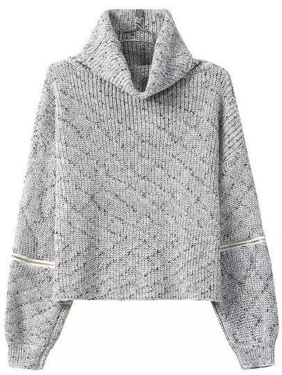 Grey High Neck Zipper Knit Sweater