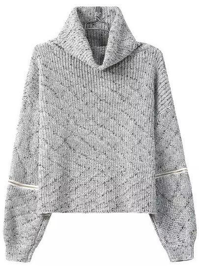 Grey High Neck Zipper Knit Sweater