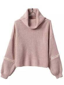 Pink High Neck Zipper Knit Sweater