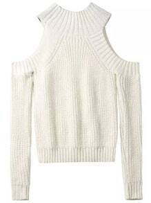 Beige Off the Shoulder Knit Sweater