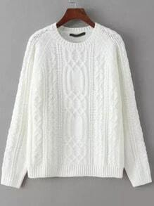 White Round Neck Cable Knit Loose Sweater