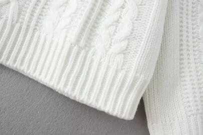 Jersey cuello redondo tejido suelto blanco spanish shein for Suelto blanco suelto barato