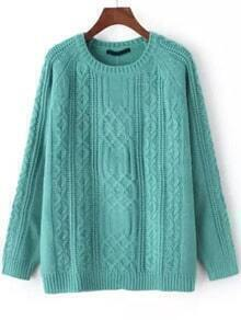 Green Round Neck Cable Knit Loose Sweater