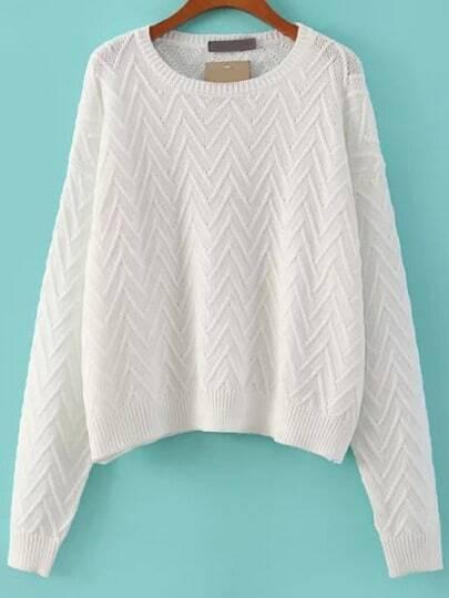White Round Neck Batwing V Pattern Crop Sweater