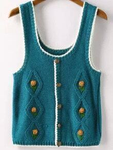Blue Strap Buttons Knit Sweater Vest