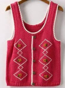 Red Strap Buttons Knit Sweater Vest