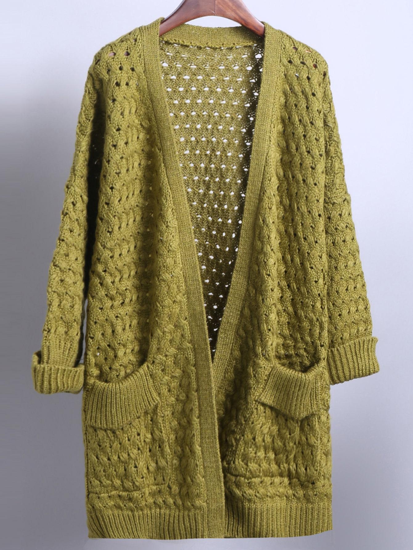 Green Short Sleeve Pockets Chunky Cardigan -SheIn(Sheinside)