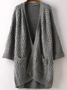 Grey Short Sleeve Pockets Chunky Cardigan