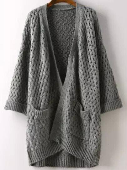 Grey Short Sleeve Pockets Chunky Cardigan