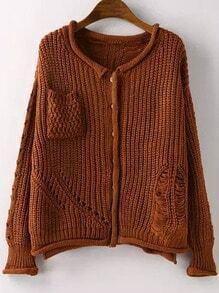 Khaki Long Sleeve Ripped Pockets Cardigan