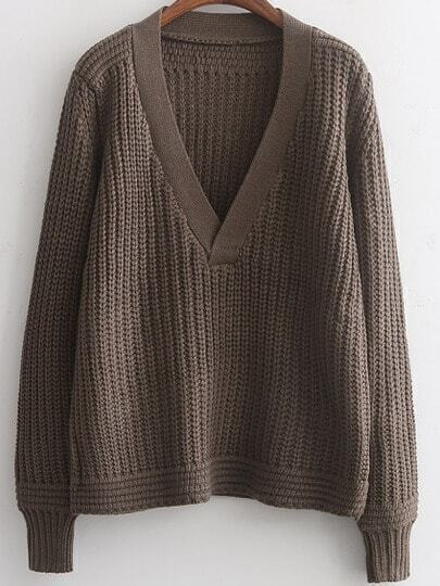 Brown V Neck Casual Knit Loose Sweater