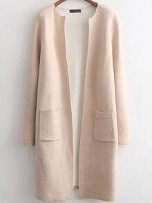 Beige Long Sleeve Pockets Casual Cardigan