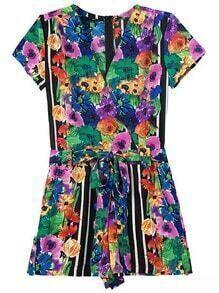 Multicolor V Neck Floral Tie-waist Jumpsuit