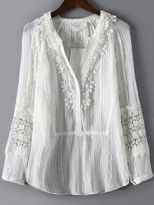 White V Neck Lace Pleated Chiffon Blouse
