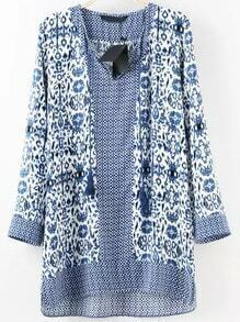 Blue White Long Sleeve Floral Loose Blouse