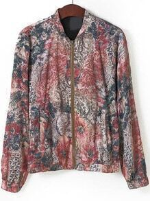Multicolor Stand Collar Tribal Print Jacket