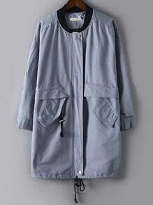 Grey Letters Print Pockets Loose Coat
