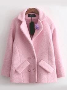 Pink Lapel Flower Embellished Casual Coat
