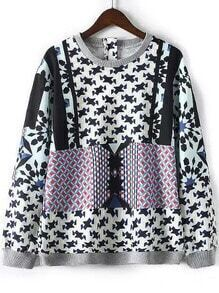 Multicolor Round Neck Geometric Print Loose Sweatshirt