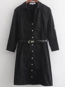 Black Lapel Casual Buttons Shirt Dress