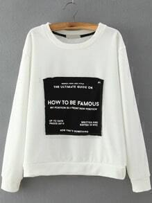White Black Letters Print Loose Sweatshirt