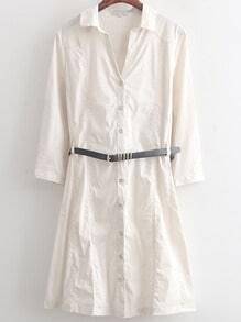 White Lapel Casual Buttons Shirt Dress