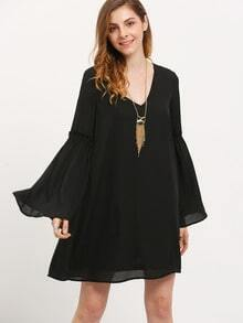 Black Lbd Long Sleeve V Neck Dress