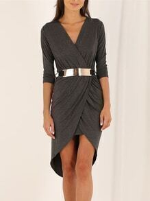 Grey Long Sleeve V Neck High Low Dress