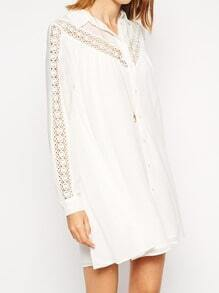 White Long Sleeve Lapel With Button Dress