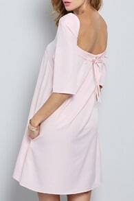 Pink Half Sleeve Backless Dress